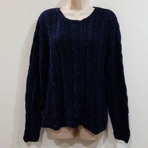 Chaus sport women's navy blue cable knit sweater